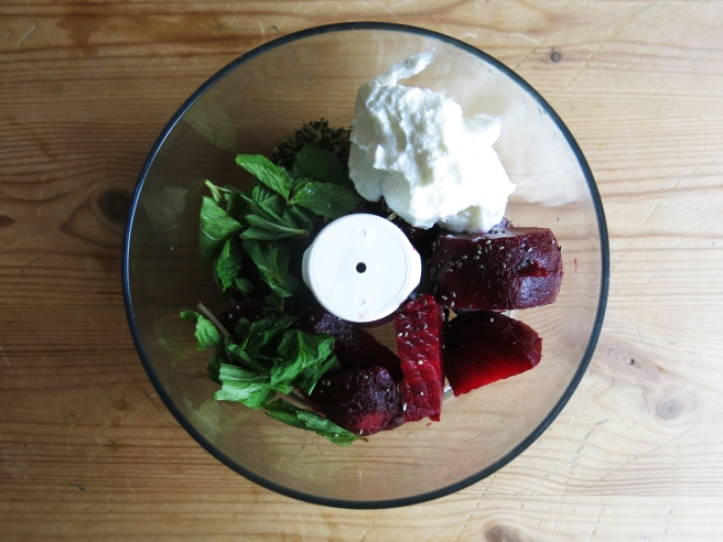 Beetroot, Mint & Fennel Dip: Put all of the ingredients in the blender